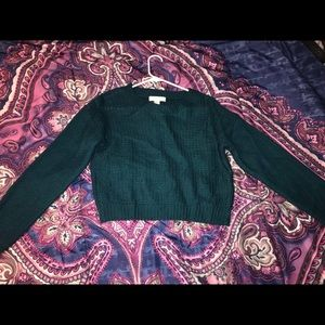 Teal Forever 21 crop knit sweater, size M